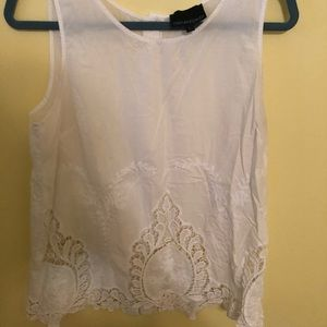 Scalloped lace white tank with back button detail
